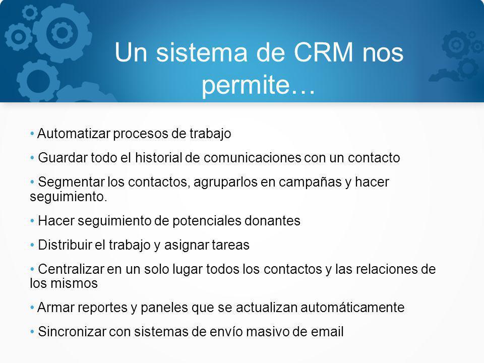 Un sistema de CRM nos permite… Automatizar procesos de trabajo Guardar todo el historial de comunicaciones con un contacto Segmentar los contactos, ag