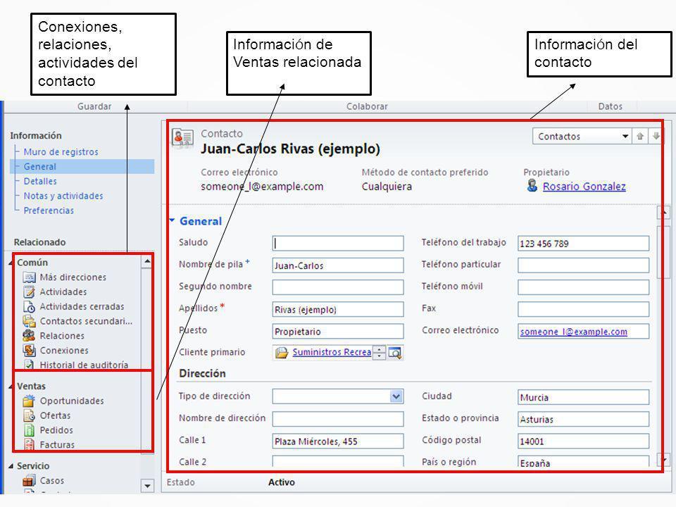 Informaci ó n del contacto Conexiones, relaciones, actividades del contacto Informaci ó n de Ventas relacionada