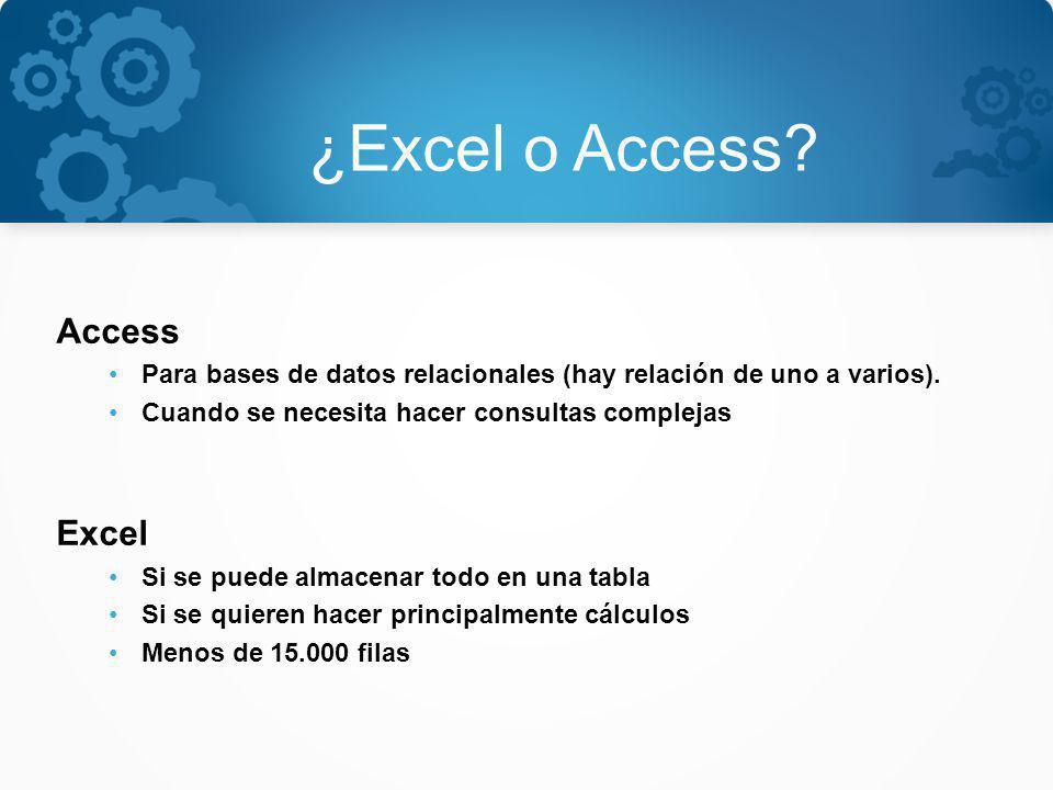 ¿Excel o Access? Access Para bases de datos relacionales (hay relación de uno a varios). Cuando se necesita hacer consultas complejas Excel Si se pued