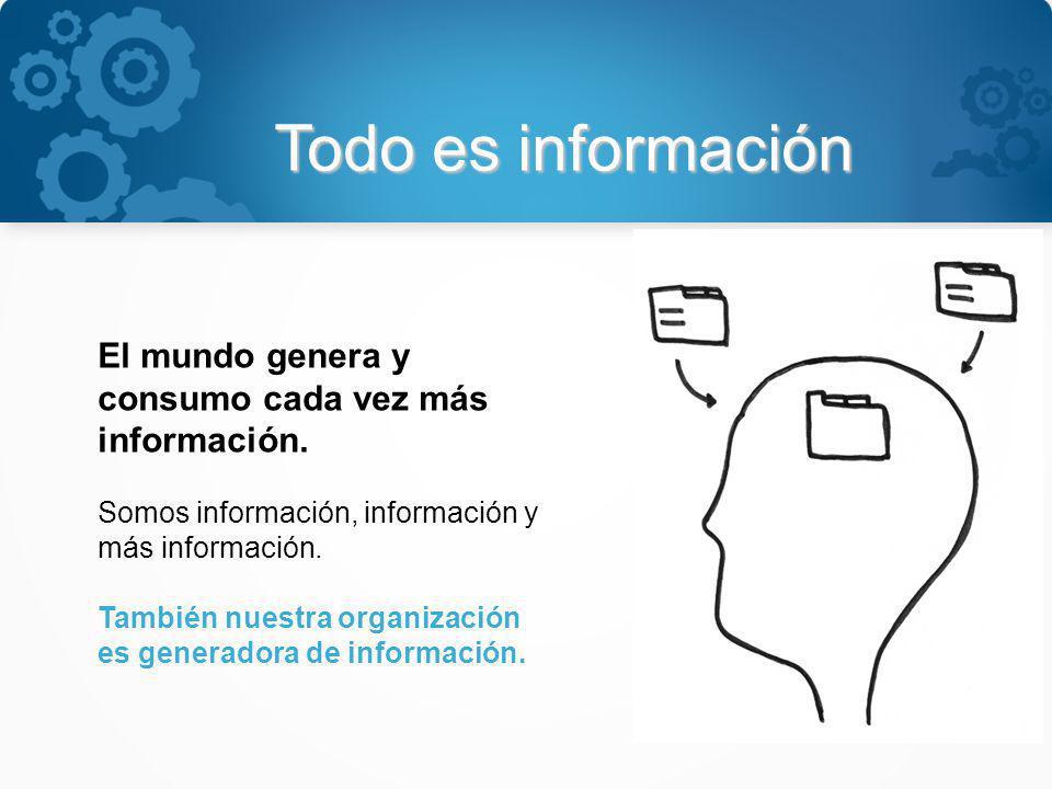 Todo es información El mundo genera y consumo cada vez más información. Somos información, información y más información. También nuestra organización