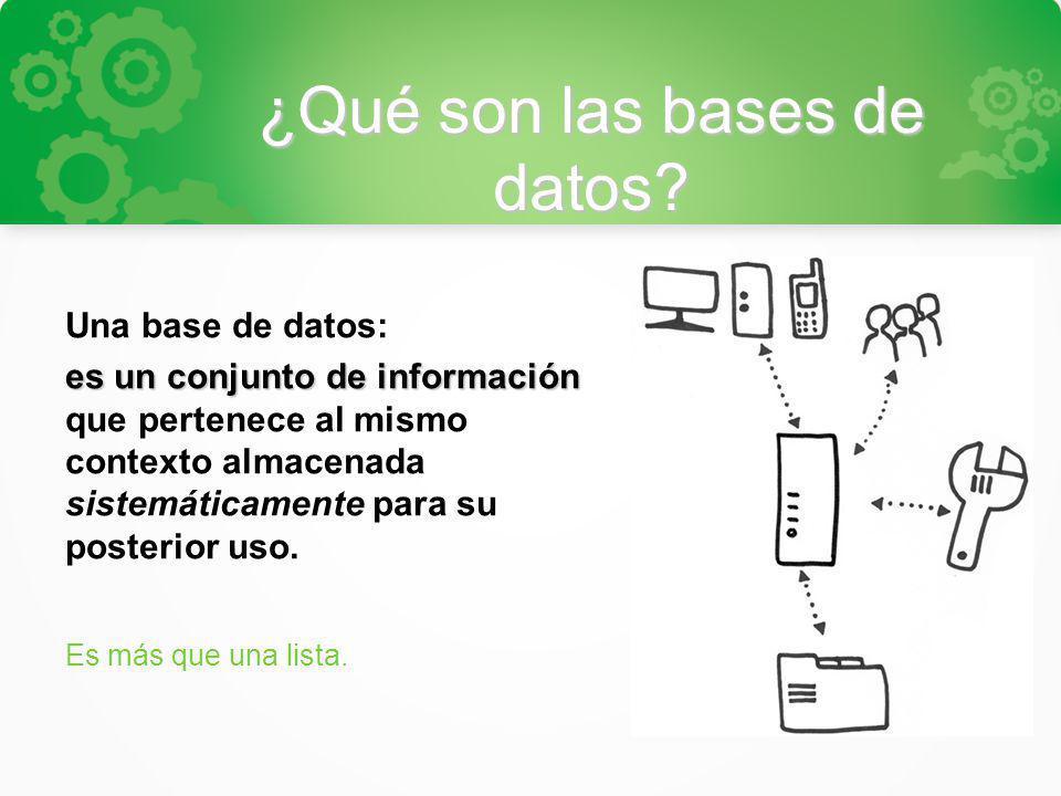 ¿Qué son las bases de datos? Una base de datos: es un conjunto de información es un conjunto de información que pertenece al mismo contexto almacenada
