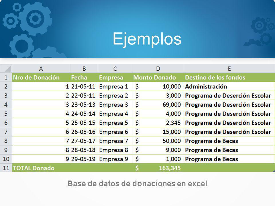 Ejemplos Base de datos de donaciones en excel