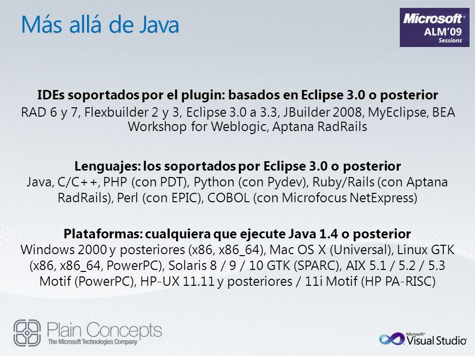 IDEs soportados por el plugin: basados en Eclipse 3.0 o posterior RAD 6 y 7, Flexbuilder 2 y 3, Eclipse 3.0 a 3.3, JBuilder 2008, MyEclipse, BEA Works