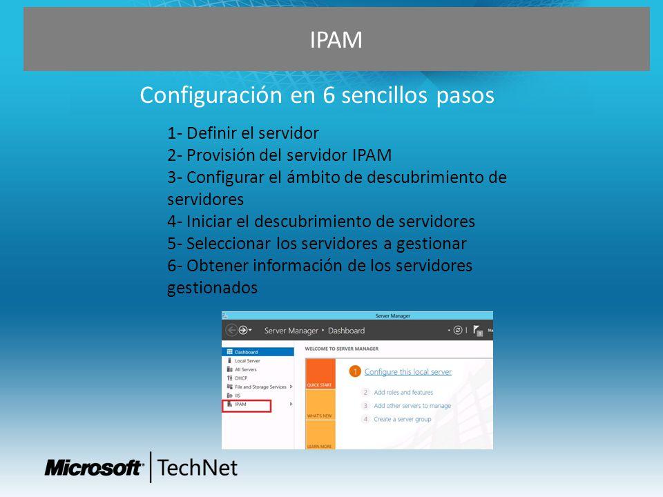 1- Definir el servidor 2- Provisión del servidor IPAM 3- Configurar el ámbito de descubrimiento de servidores 4- Iniciar el descubrimiento de servidor