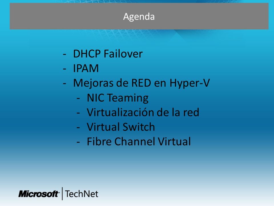 DHCP Failover Service Continuity IP Address continuity Low TCO Multisite Deployme nt Servicio de DHCP Funcionando de manera ininterrumpida proporciona sericios de red siempre disponibles.