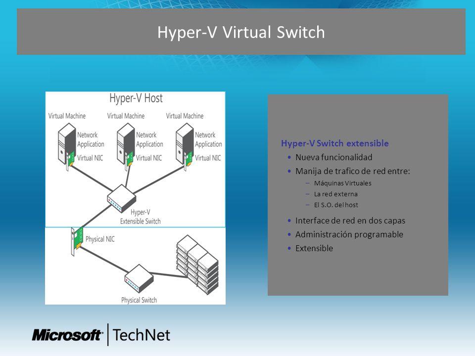 Hyper-V Switch extensible Nueva funcionalidad Manija de trafico de red entre: – Máquinas Virtuales – La red externa – El S.O. del host Interface de re