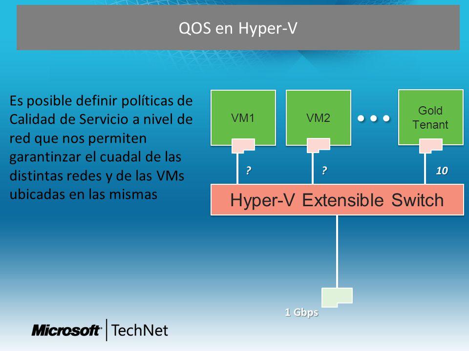 QOS en Hyper-V VM2 Hyper-V Extensible Switch VM1 Gold Tenant Es posible definir políticas de Calidad de Servicio a nivel de red que nos permiten garan