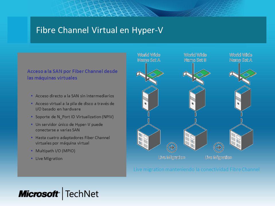 Fibre Channel Virtual en Hyper-V Live migration manteniendo la conectividad Fibre Channel Acceso a la SAN por Fiber Channel desde las máquinas virtual