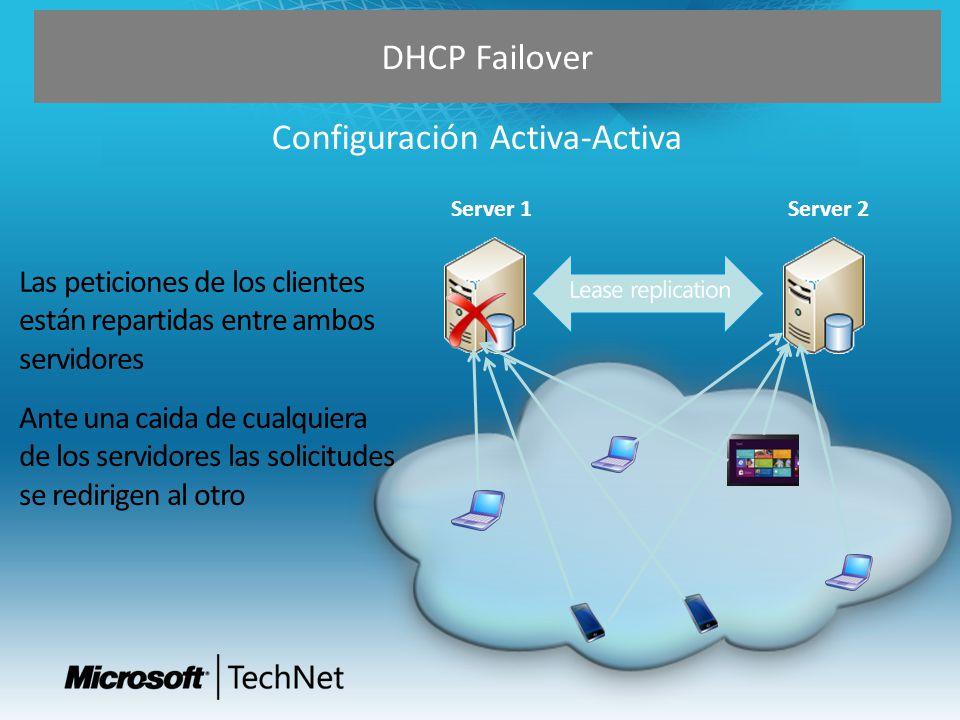 DHCP Failover Configuración MultiSite Primary Site 1 Primary Site 2 Primary Site 4 Primary Site 3 Secondary for all Central site 10.0.0.0/24 40.0.0.0/24 20.0.0.0/24 30.0.0.0/24 10.0.0.0/24 20.0.0.0/24 40.0.0.0/24 30.0.0.0/24