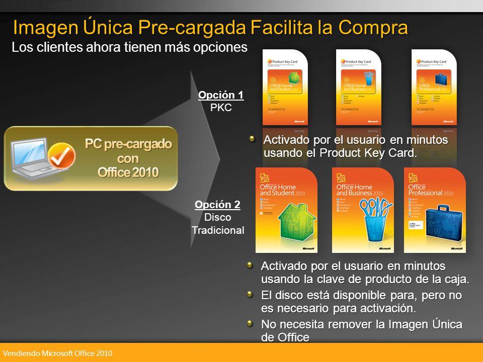 Vendiendo Microsoft Office 2010 Imagen Única Pre-cargada Facilita la Compra Activado por el usuario en minutos usando la clave de producto de la caja.