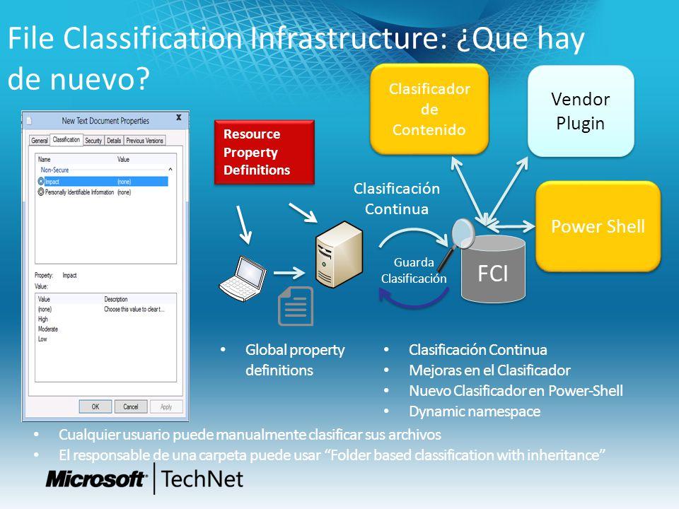 File Classification Infrastructure: ¿Que hay de nuevo? Resource Property Definitions FCI Clasificador de Contenido Vendor Plugin Vendor Plugin Clasifi