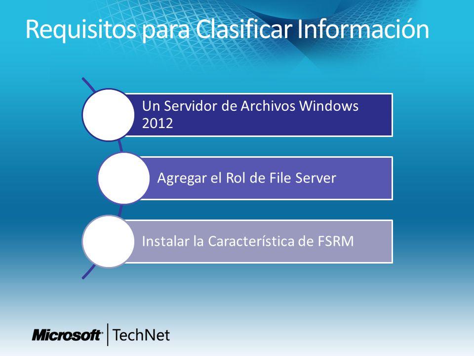 Un Servidor de Archivos Windows 2012 Agregar el Rol de File Server Instalar la Característica de FSRM Requisitos para Clasificar Información