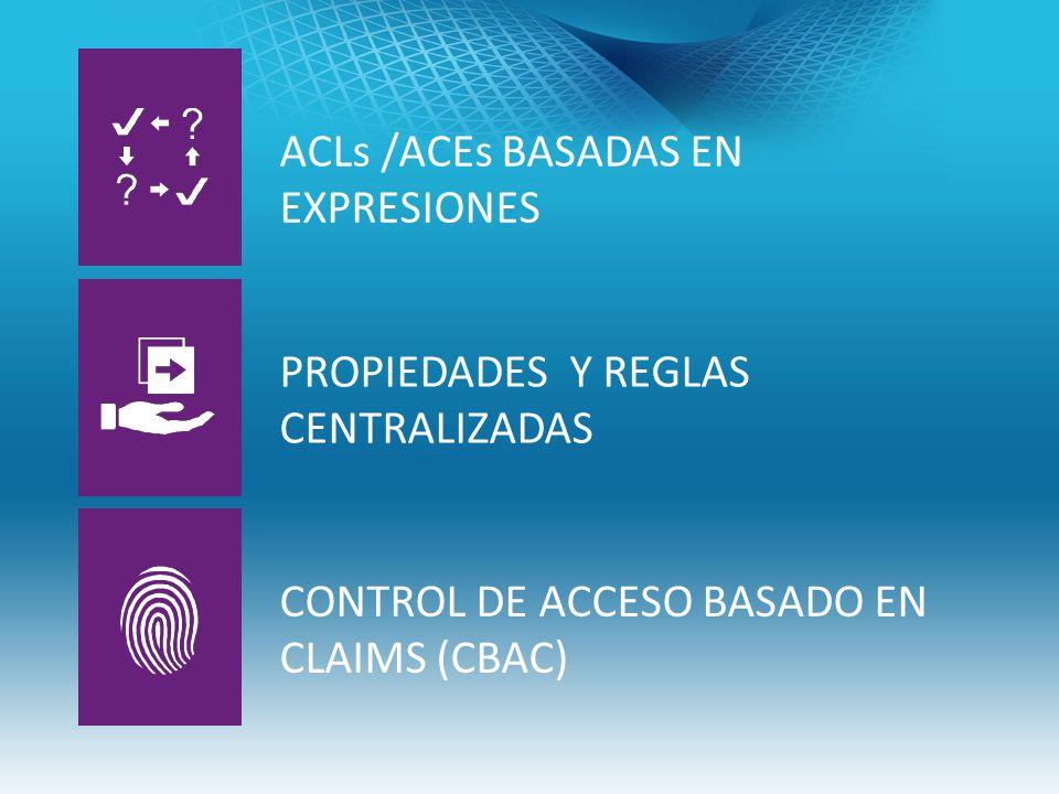 ACLs /ACEs BASADAS EN EXPRESIONES PROPIEDADES Y REGLAS CENTRALIZADAS CONTROL DE ACCESO BASADO EN CLAIMS (CBAC)