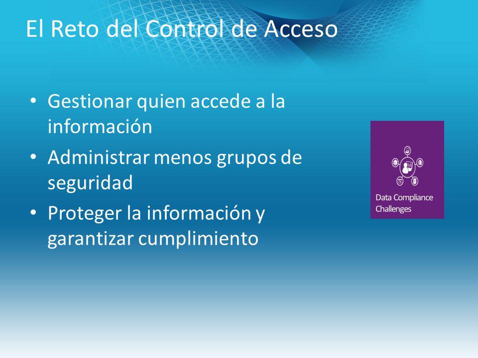 El Reto del Control de Acceso Gestionar quien accede a la información Administrar menos grupos de seguridad Proteger la información y garantizar cumplimiento