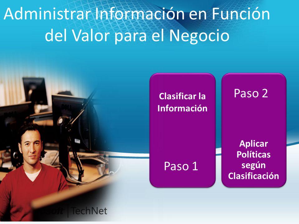 Clasificar la Información Administrar Información en Función del Valor para el Negocio Paso 1 Aplicar Políticas según Clasificación Paso 2