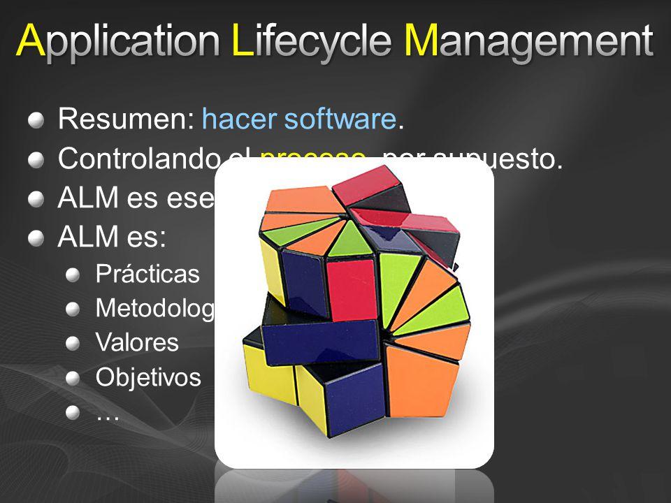 Resumen: hacer software. Controlando el proceso, por supuesto.