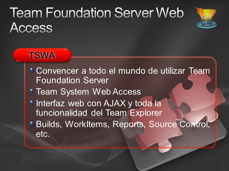 Convencer a todo el mundo de utilizar Team Foundation Server Team System Web Access Interfaz web con AJAX y toda la funcionalidad del Team Explorer Builds, WorkItems, Reports, Source Control, etc.