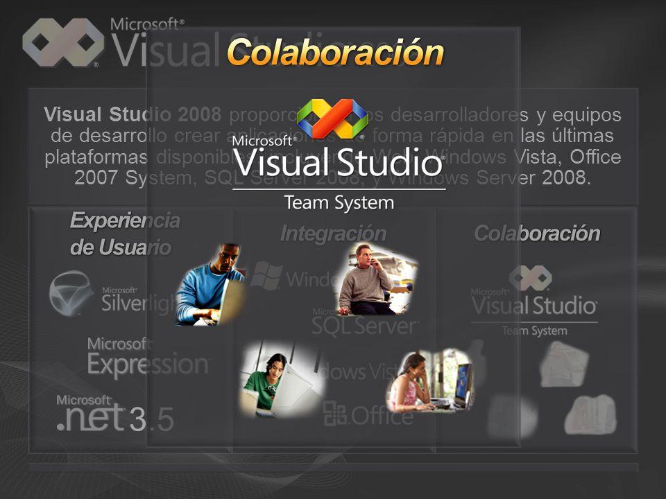 Visual Studio 2008 proporciona a los desarrolladores y equipos de desarrollo crear aplicaciones de forma rápida en las últimas plataformas disponibles, incluyendo Web, Windows Vista, Office 2007 System, SQL Server 2008, y Windows Server 2008.