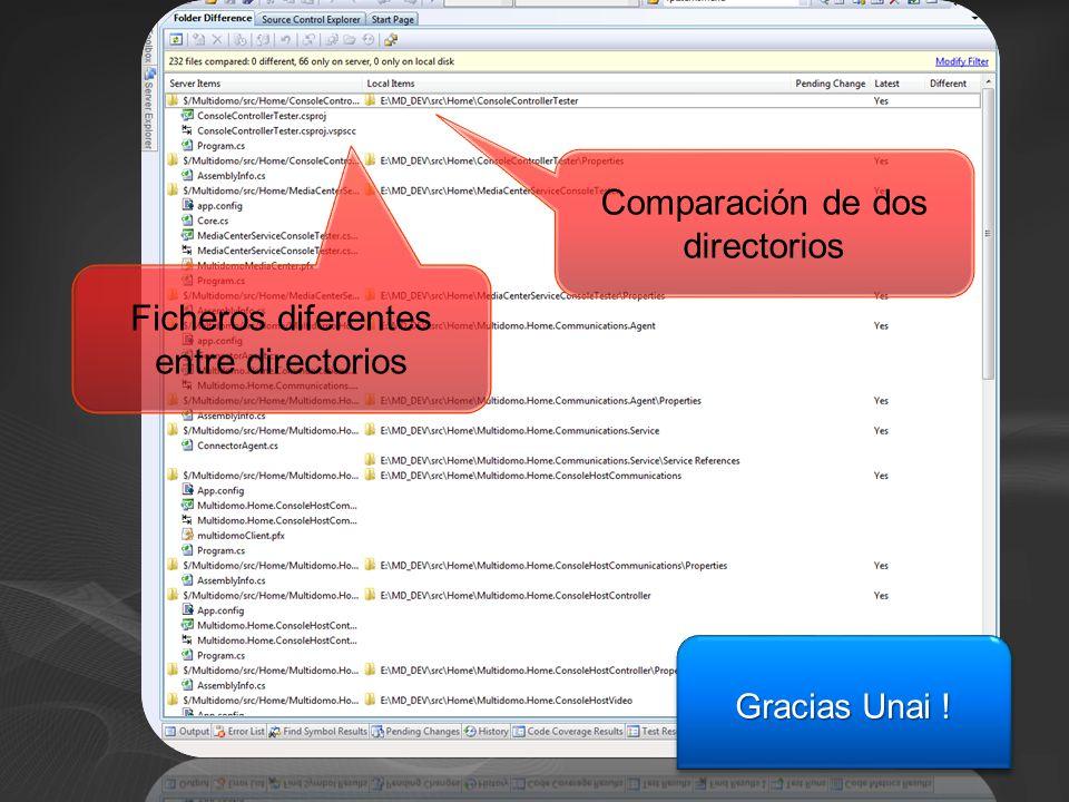Comparación de dos directorios Ficheros diferentes entre directorios Gracias Unai !