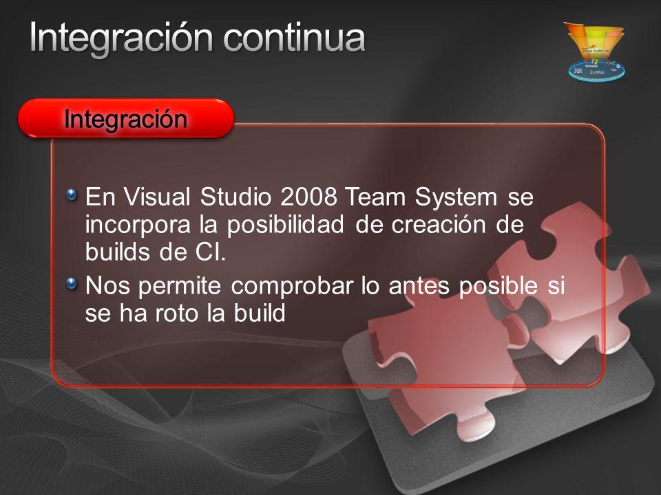 En Visual Studio 2008 Team System se incorpora la posibilidad de creación de builds de CI.