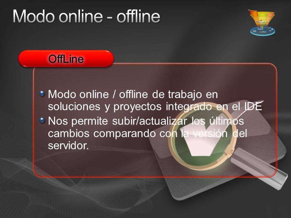 Modo online / offline de trabajo en soluciones y proyectos integrado en el IDE Nos permite subir/actualizar los últimos cambios comparando con la versión del servidor.