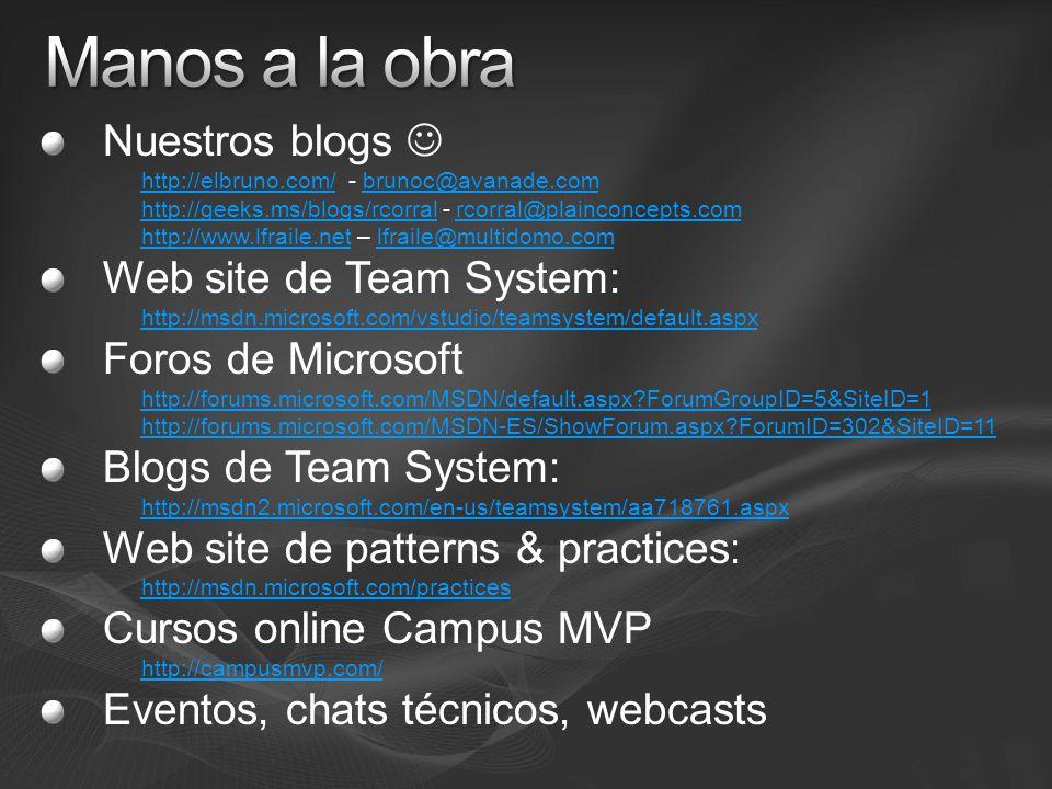 Nuestros blogs http://elbruno.com/http://elbruno.com/ - brunoc@avanade.combrunoc@avanade.com http://geeks.ms/blogs/rcorralhttp://geeks.ms/blogs/rcorral - rcorral@plainconcepts.comrcorral@plainconcepts.com http://www.lfraile.nethttp://www.lfraile.net – lfraile@multidomo.comlfraile@multidomo.com Web site de Team System: http://msdn.microsoft.com/vstudio/teamsystem/default.aspx Foros de Microsoft http://forums.microsoft.com/MSDN/default.aspx ForumGroupID=5&SiteID=1 http://forums.microsoft.com/MSDN-ES/ShowForum.aspx ForumID=302&SiteID=11 Blogs de Team System: http://msdn2.microsoft.com/en-us/teamsystem/aa718761.aspx Web site de patterns & practices: http://msdn.microsoft.com/practices Cursos online Campus MVP http://campusmvp.com/ Eventos, chats técnicos, webcasts
