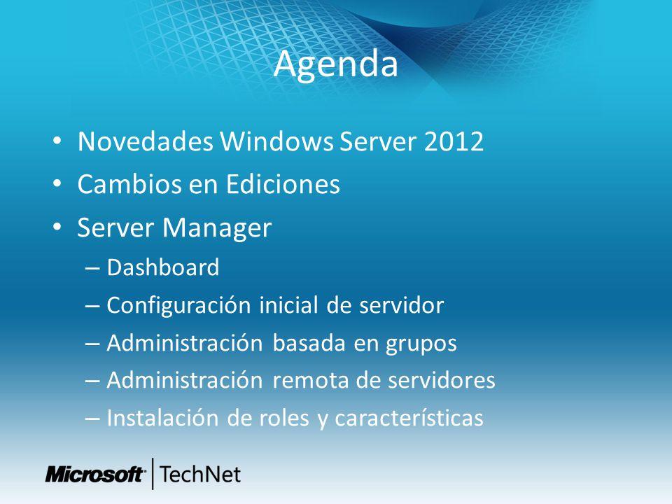 Agenda Novedades Windows Server 2012 Cambios en Ediciones Server Manager – Dashboard – Configuración inicial de servidor – Administración basada en gr