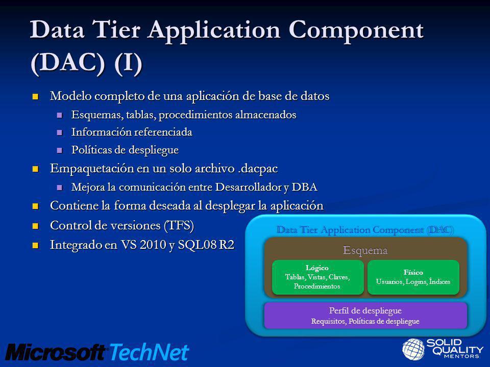 Data Tier Application Component (DAC) (I) Modelo completo de una aplicación de base de datos Modelo completo de una aplicación de base de datos Esquem