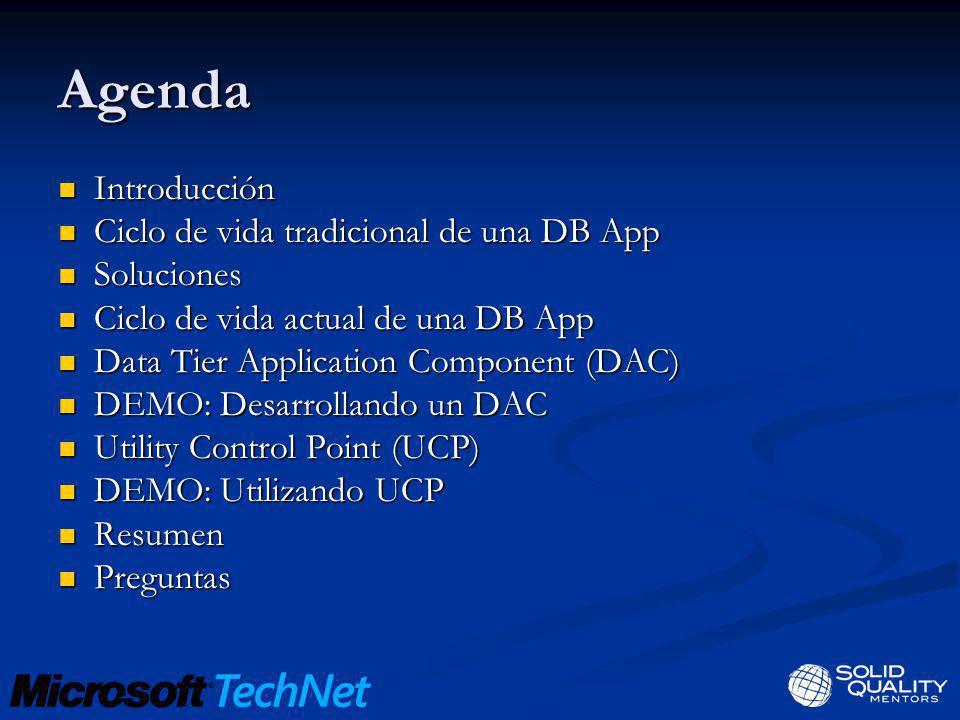 Agenda Introducción Introducción Ciclo de vida tradicional de una DB App Ciclo de vida tradicional de una DB App Soluciones Soluciones Ciclo de vida a