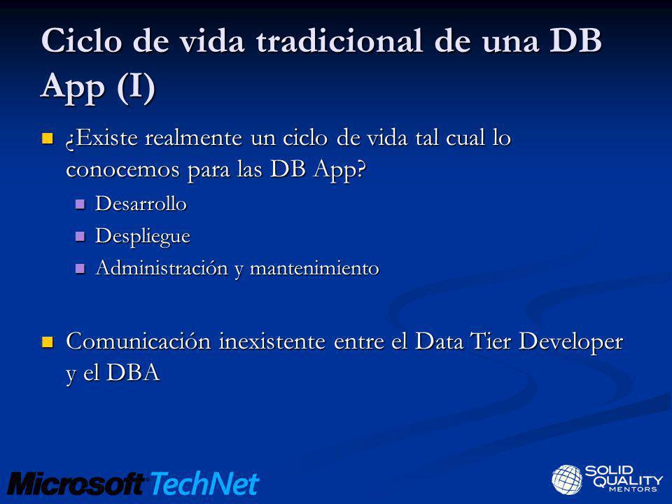 Problemas NO existen herramientas que engloben todo el ciclo de vida de una DB app No se puede capturar información del desarrollo Diseño de DB diferente entre Dev y DBA Dificultad para empaquetar la aplicación DB Difícil centralizar y controlar el despliegue Políticas de despliegue para diferentes versiones Comprobar y mantener restricciones de despliegue DBA no conoce la App DB Diferentes configuraciones Diferentes escenarios, poca eficiencia Dificultad para centralizar el mantenimiento de las App DB