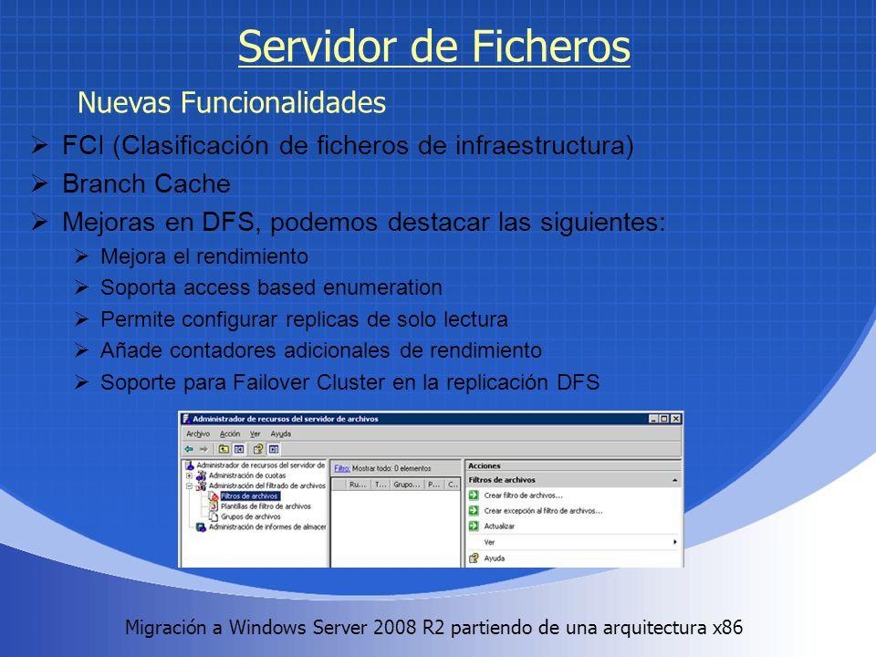 Migración a Windows Server 2008 R2 partiendo de una arquitectura x86. Servidor de Ficheros FCI (Clasificación de ficheros de infraestructura) Branch C