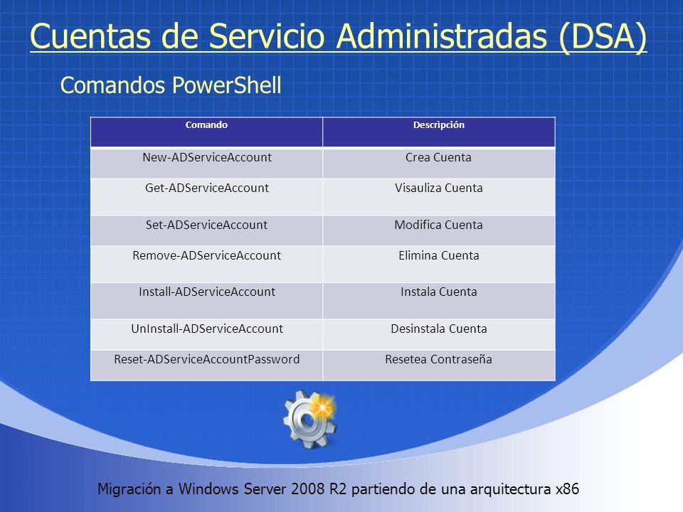 Migración a Windows Server 2008 R2 partiendo de una arquitectura x86. Cuentas de Servicio Administradas (DSA) Comandos PowerShell ComandoDescrìpción N