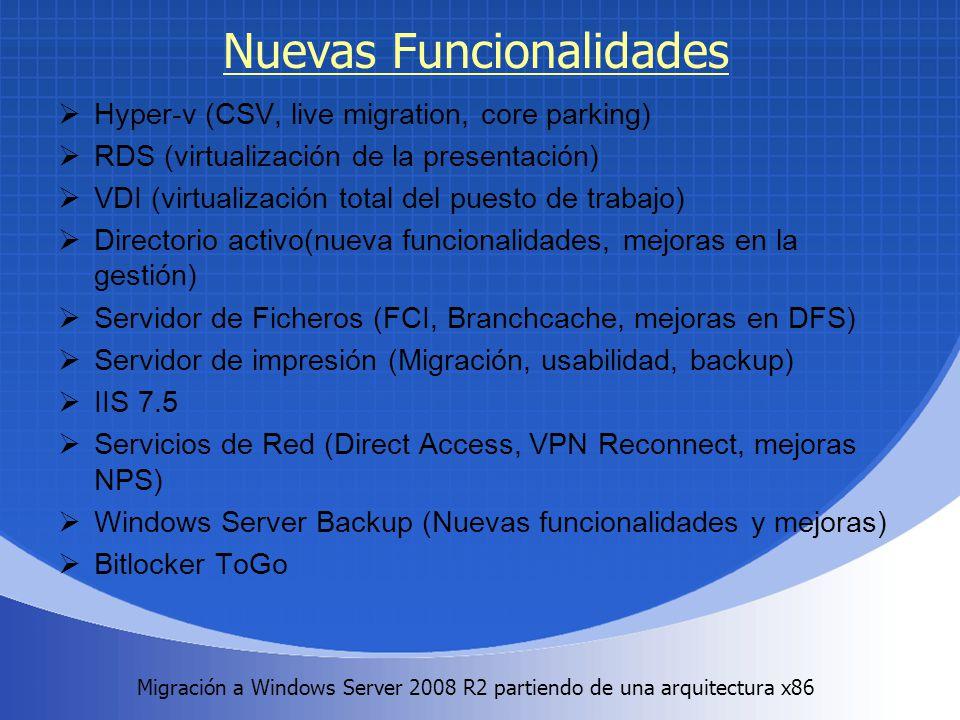 Migración a Windows Server 2008 R2 partiendo de una arquitectura x86. Nuevas Funcionalidades Hyper-v (CSV, live migration, core parking) RDS (virtuali