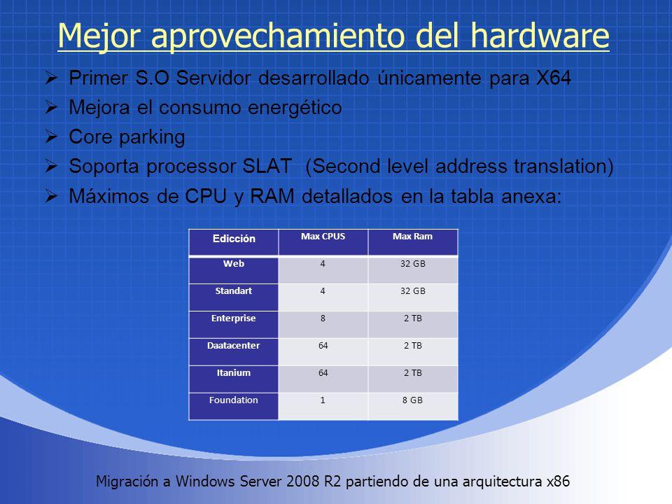 Migración a Windows Server 2008 R2 partiendo de una arquitectura x86. Mejor aprovechamiento del hardware Primer S.O Servidor desarrollado únicamente p