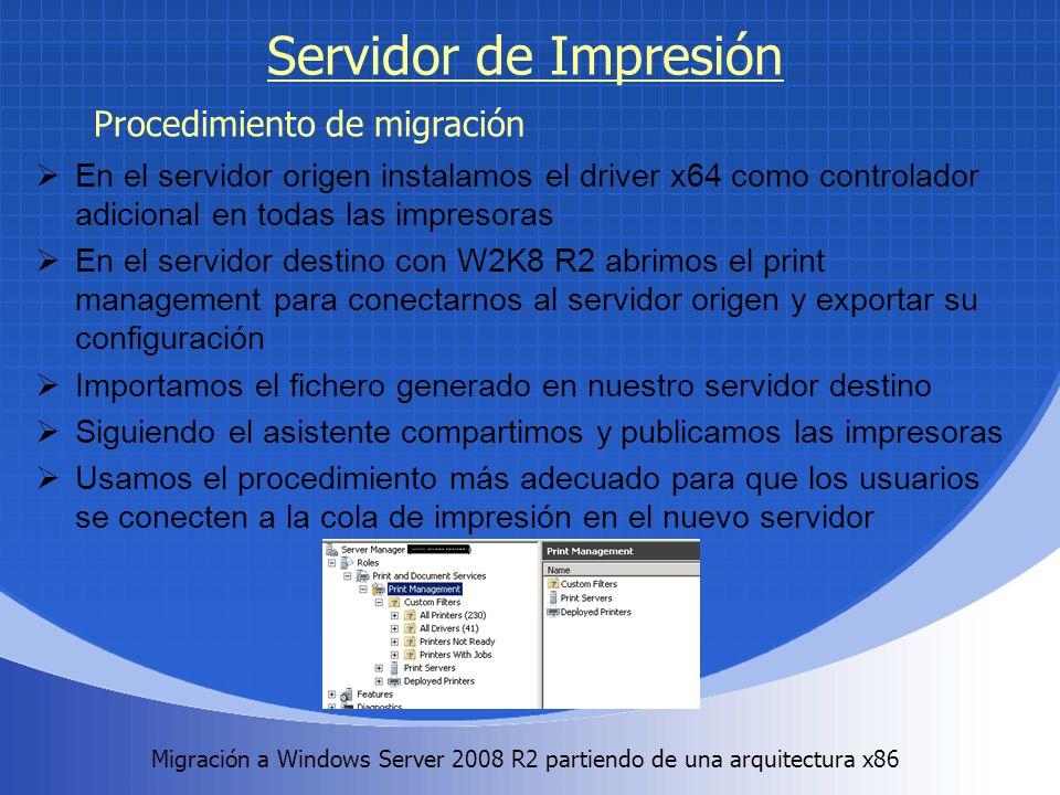 Migración a Windows Server 2008 R2 partiendo de una arquitectura x86. Servidor de Impresión En el servidor origen instalamos el driver x64 como contro