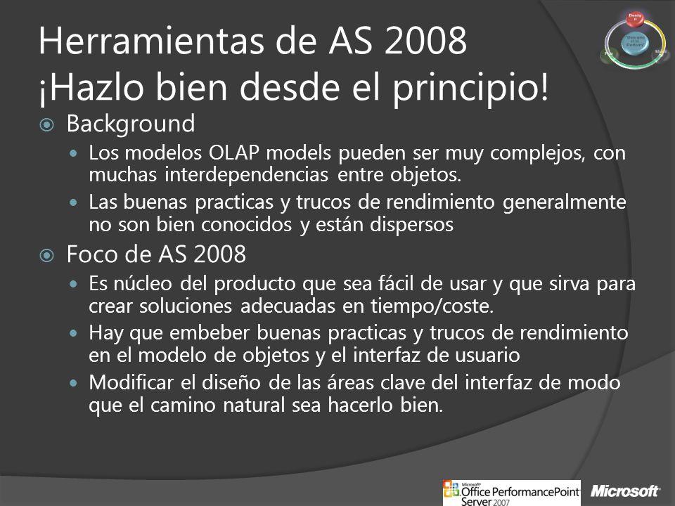 Herramientas de AS 2008 ¡Hazlo bien desde el principio! Background Los modelos OLAP models pueden ser muy complejos, con muchas interdependencias entr