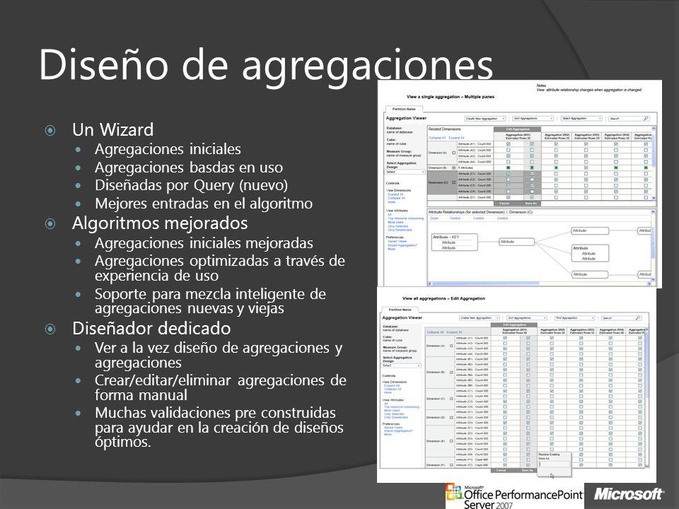 Diseño de agregaciones Un Wizard Agregaciones iniciales Agregaciones basdas en uso Diseñadas por Query (nuevo) Mejores entradas en el algoritmo Algoritmos mejorados Agregaciones iniciales mejoradas Agregaciones optimizadas a través de experiencia de uso Soporte para mezcla inteligente de agregaciones nuevas y viejas Diseñador dedicado Ver a la vez diseño de agregaciones y agregaciones Crear/editar/eliminar agregaciones de forma manual Muchas validaciones pre construidas para ayudar en la creación de diseños óptimos.