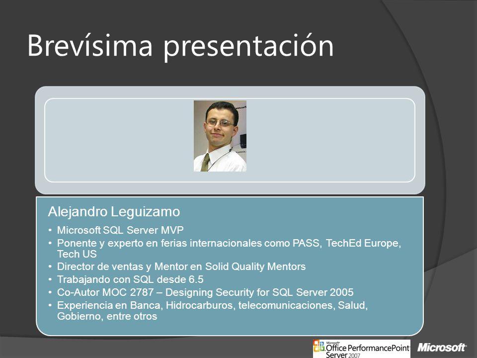 Brevísima presentación Alejandro Leguizamo Microsoft SQL Server MVP Ponente y experto en ferias internacionales como PASS, TechEd Europe, Tech US Dire