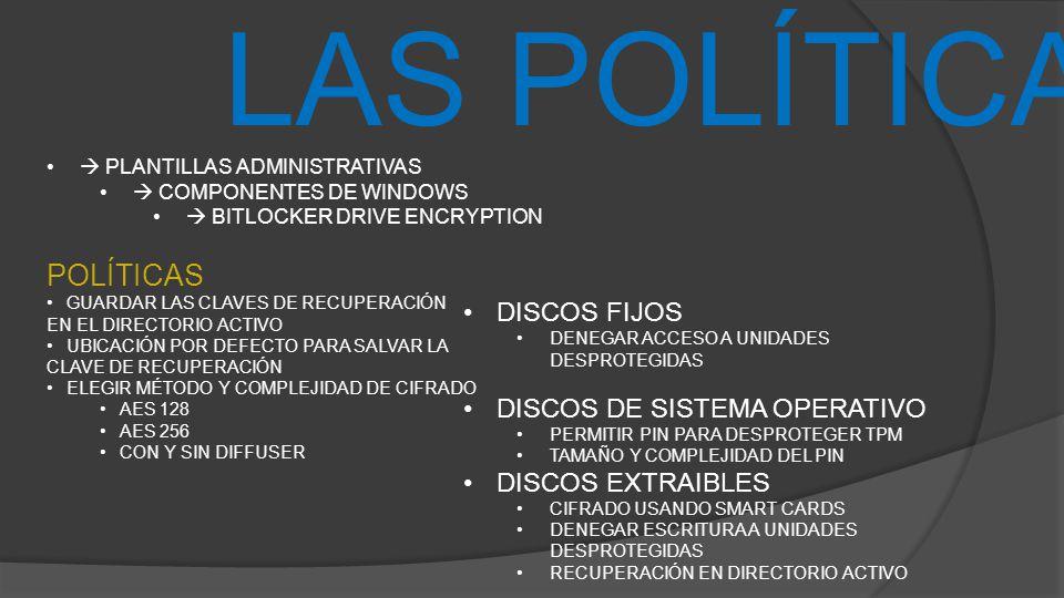 LAS POLÍTICAS PLANTILLAS ADMINISTRATIVAS COMPONENTES DE WINDOWS BITLOCKER DRIVE ENCRYPTION POLÍTICAS GUARDAR LAS CLAVES DE RECUPERACIÓN EN EL DIRECTOR
