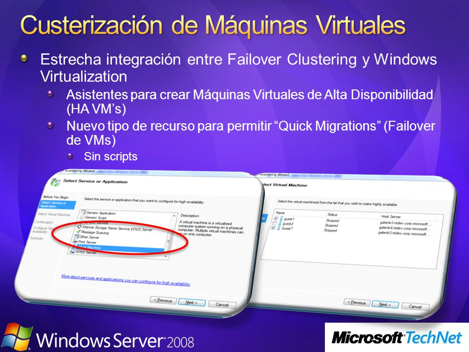 Estrecha integración entre Failover Clustering y Windows Virtualization Asistentes para crear Máquinas Virtuales de Alta Disponibilidad (HA VMs) Nuevo tipo de recurso para permitir Quick Migrations (Failover de VMs) Sin scripts