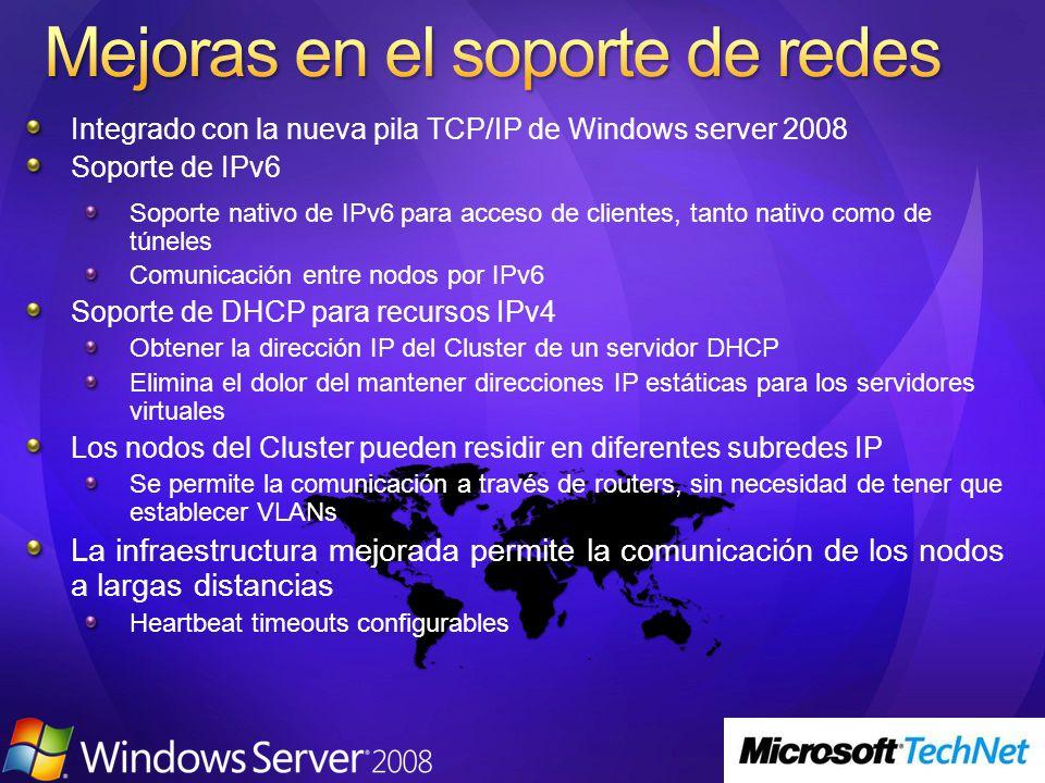 Integrado con la nueva pila TCP/IP de Windows server 2008 Soporte de IPv6 Soporte nativo de IPv6 para acceso de clientes, tanto nativo como de túneles