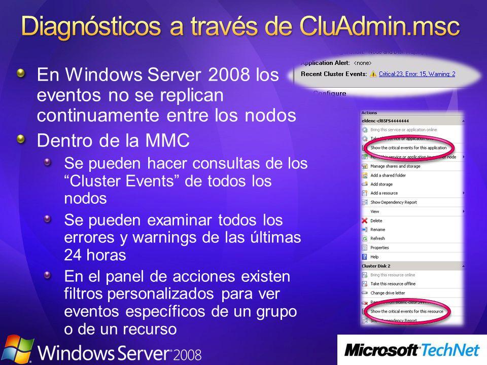 En Windows Server 2008 los eventos no se replican continuamente entre los nodos Dentro de la MMC Se pueden hacer consultas de los Cluster Events de todos los nodos Se pueden examinar todos los errores y warnings de las últimas 24 horas En el panel de acciones existen filtros personalizados para ver eventos específicos de un grupo o de un recurso