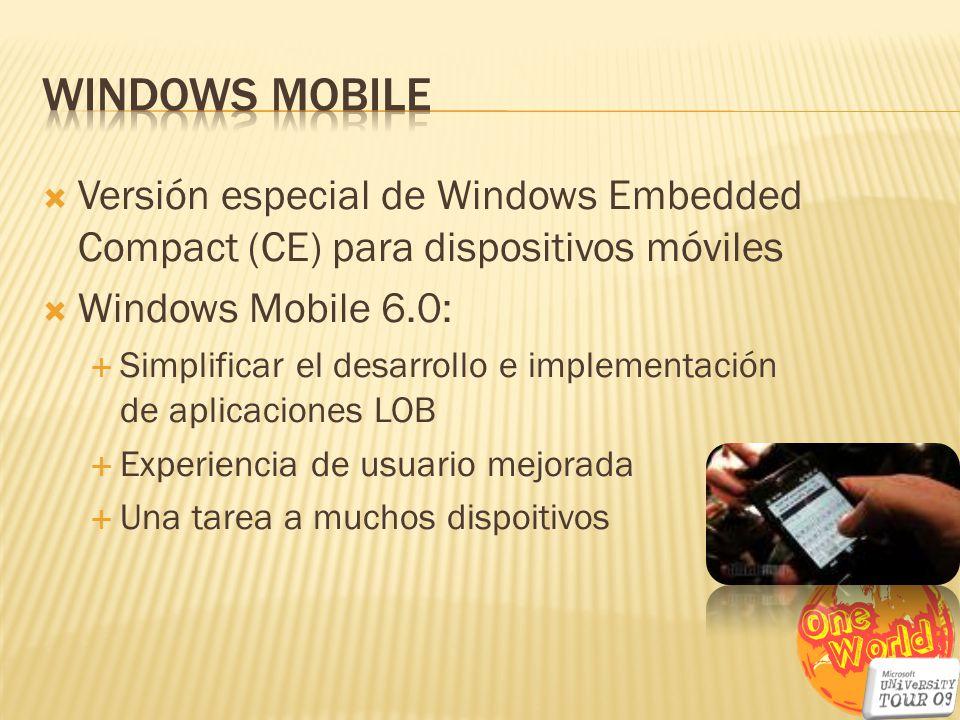 Versión especial de Windows Embedded Compact (CE) para dispositivos móviles Windows Mobile 6.0: Simplificar el desarrollo e implementación de aplicaci