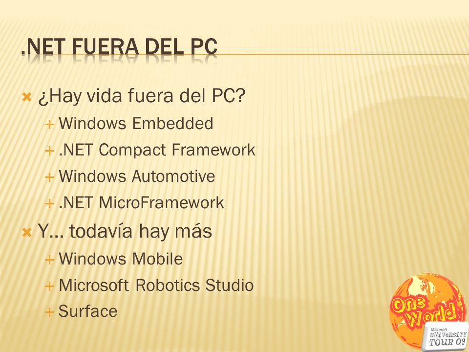 ¿Hay vida fuera del PC? Windows Embedded.NET Compact Framework Windows Automotive.NET MicroFramework Y… todavía hay más Windows Mobile Microsoft Robot