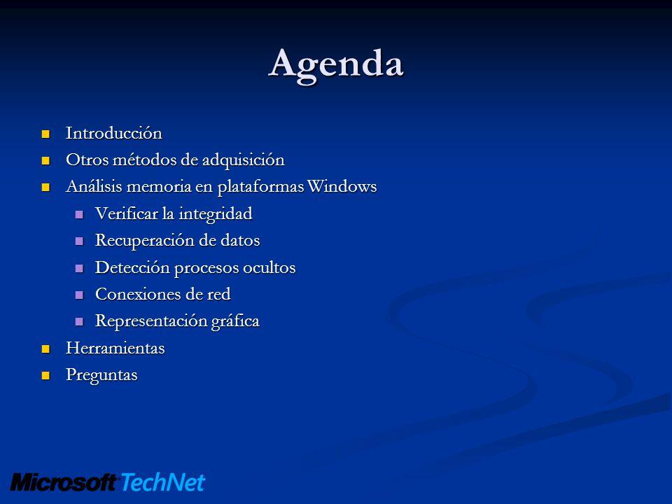 Agenda Introducción Introducción Otros métodos de adquisición Otros métodos de adquisición Análisis memoria en plataformas Windows Análisis memoria en