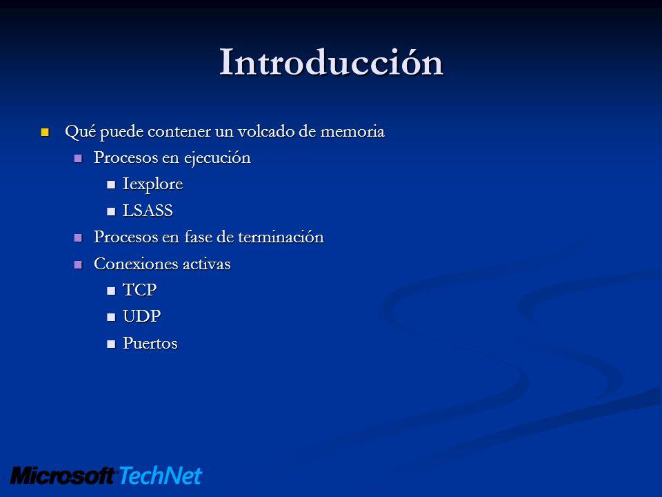 Introducción Qué puede contener un volcado de memoria Qué puede contener un volcado de memoria Procesos en ejecución Procesos en ejecución Iexplore Ie