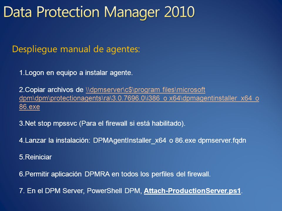 Despliegue manual de agentes: 1.Logon en equipo a instalar agente.