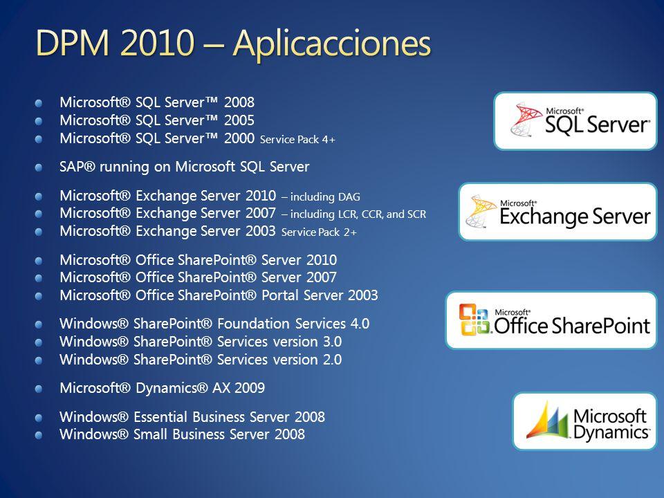 Microsoft ® SQL Server 2008 Microsoft ® SQL Server 2005 Microsoft ® SQL Server 2000 Service Pack 4+ SAP ® running on Microsoft SQL Server Microsoft ®
