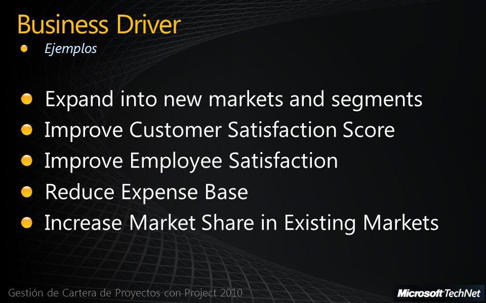 Gestión de Cartera de Proyectos con Project 2010 Business Driver Ejemplos