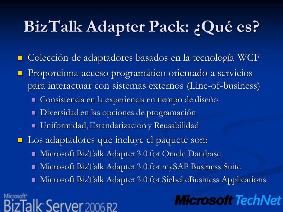 BizTalk Adapter Pack: ¿Qué es? Colección de adaptadores basados en la tecnología WCF Colección de adaptadores basados en la tecnología WCF Proporciona